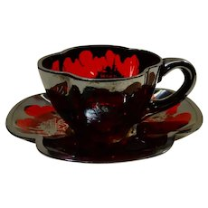 Silver Overlay Ruby Glass Cup and Saucer