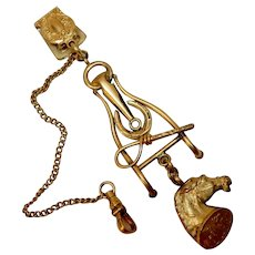 Horse Equestrian Watch Fob Chain Ensemble c. 1900