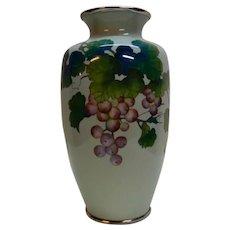 Japanese Cloisonne Vase Grapes Silver Wires