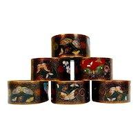 Japanese Cloisonne' Napkin Rings, 1890's set of 6
