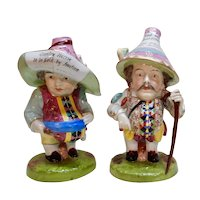 Derby Porcelain Mansion House Dwarfs Pair Advertising c. 1820