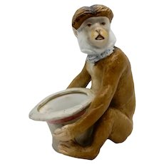 Porcelain Monkey Match Holder 19th c. Bisque