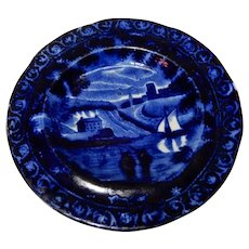 Clews Historical Transferware Dark Blue Cup Plate