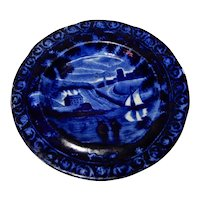 Clews Historical Transferware Earliest Dark Blue Cup Plate