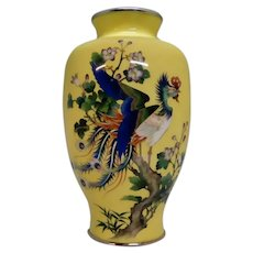 Cloisonne' Huge Yellow Peacock Bird Vase 20th c.