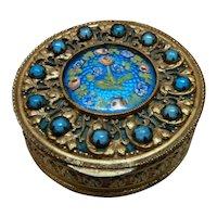 Enamel Jeweled Compact Houbigant France
