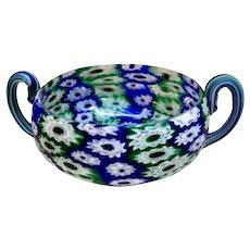 Italian Mosaic Glass Bowl, Murrhine Canes Millefiore