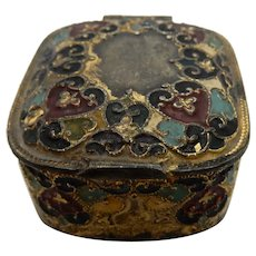 Antique Stamp Box Painted Metal with Cloisonne Look