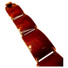 Norwegian Enamel Sterling Bracelet Deep Red Guilloche