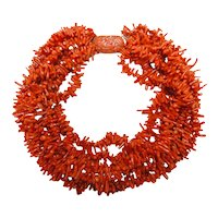 Coral Necklace Carved Dragon Clasp 14K Fantastic