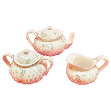 Knowles Taylor & Knowles Lotus Ware Tea Set Fishnet pattern