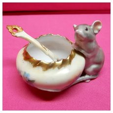 Porcelain Salt Dip and spoon with Mouse