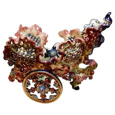 Fischer Budapest Pottery Chariot Centerpiece, as is