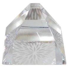 Hoya Crystal Pyramid Paperweight Modern