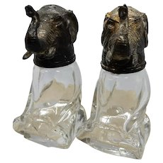 Salt & Pepper Glass with Metal Elephant Heads