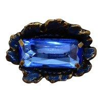 Huge Brass and Blue Cut Glass Button 3-D