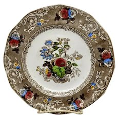 Transfer Ware Plate Brown and Polychrome Canella Pattern