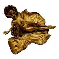 Victorian Lady Naughty Sculpture Gilt Metal