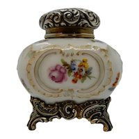 Dresden Porcelain and Sterling Silver Inkwell