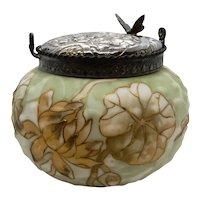 Crown Milano Glass Biscuit Jar Lotus Decoration