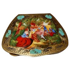Italian Enamel Compact Musical Scene untouched condition