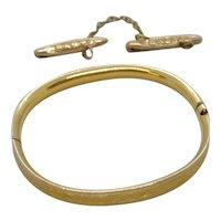 Doll size Gold Filled Bangle Bracelet and Pin set