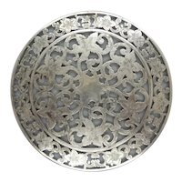 Silver Overlay on Glass Trivet c. 1900