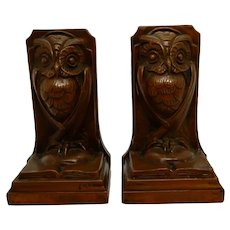 Antique Owl Bookends Bronze Clad