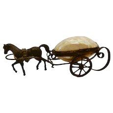 Victorian M.O.P. Shell Trinket Box Horse Cart