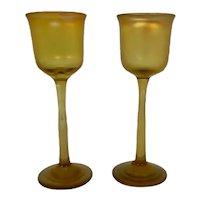 Tiffany LCT Pair  Art Glass Stemmed Cordials