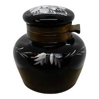 Antique Black Glass Inkwell with insert