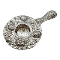 Tea Strainer 800 Silver Repousse' Flowers
