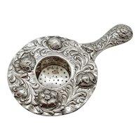 Tea Strainer 800 Silver Repousse' Flowers