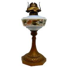 Milk Glass Painted Oil Lamp Iron Base 19th century