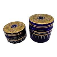 Bohemian Enameled Cobalt Glass Dresser Jars, Pair