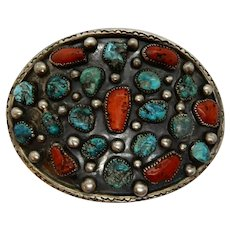 Native American Sterling Turquoise Coral Belt Buckle