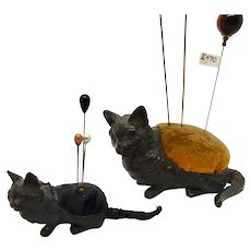 Pair Victorian Cat Metal Pincushions