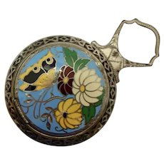 Compact Enamel Butterfly and Flowers Art Deco