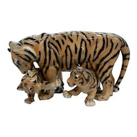 Royal Copenhagen large figurine Tiger and Two Cubs