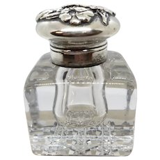 Gorham Sterling Cut Glass Inkwell Pansy Top ABP
