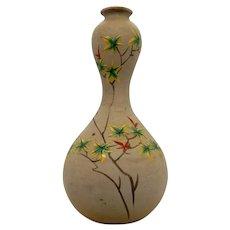 Japanese Banko Pottery Vase  Autumn Leaves