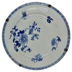Pair Chinese Export Blue and White Plates, 19th. c.
