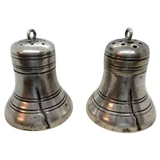 Sterling Silver Liberty Bell Figural Salt and Pepper Shakers
