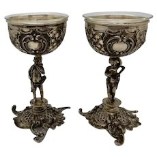 Pair Silver Rococo Wedding Goblets Cupid and Cherub German