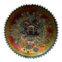 Carnival Glass Plate Good Luck Purple Electric