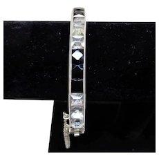 Art Deco Sterling Channel Bracelet Black and Clear