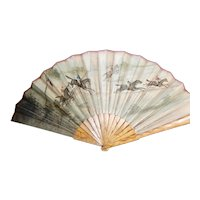 Equestrian Theme Hand Fan Victorian Horse Racing
