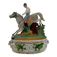 Equestrian Inkwell Porcelain Horse and Rider 19th c.