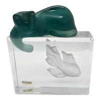 Daum Art Glass Pate de Verre Cat on Fish Tank