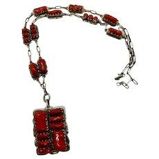 Zuni Necklace Red Coral signed Alvina Quam